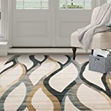Cheap Bedford Home Opus Contemporary Curves Area Rug, 8 x 10′, Cream