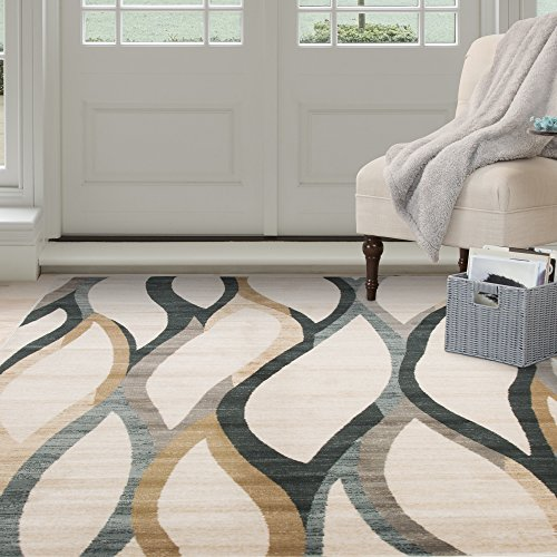 Lavish Home Opus Contemporary Curves Area Rug 8x10 Feet Cream