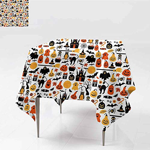 Diycon Waterproof Tablecloth Halloween Halloween Icons Collection Candies Owls Castles Ghosts October 31 Theme Orange Yellow Black and Durable W50 -