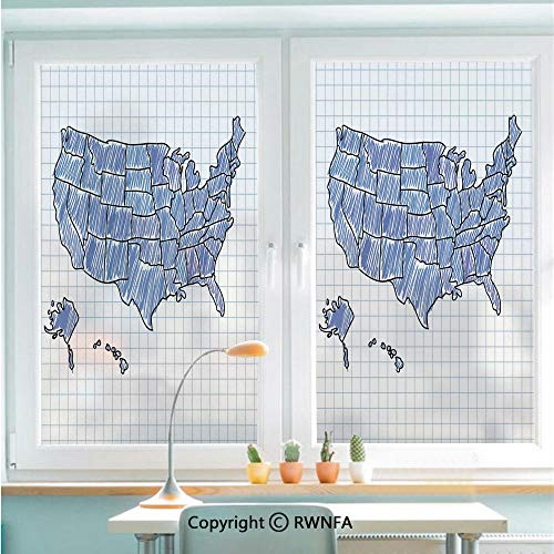 RWNFA Window Film Door Sticker Hand Drawn US Map Sketchy Display Doodle Cartography Notebook Educational Glass Film Both Suitable for Home and Office,22.8 x 35.4inch,Blue Violet Blue Black