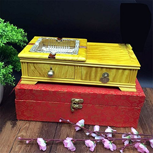 OLQMY The high-grade wooden crafts, Daye gold Phoebe blood Tan ashtray, Home Furnishing office decoration