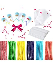 TAIHUIMY 360 Pcs Lollipop Cake Pop Treat for Making Lollipops, Cake Pops, Candies, Chocolates and Cookies Bag Set Including 120 Parcel Bags, 120 Papery Treat Sticks, 120 Colorful Metallic Twist Ties