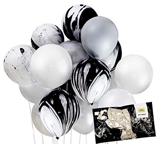 Creative Silver Black Agate Mix Latex Marble Balloon Party Decoration 30pc Thick 12 for Wedding, Birthday Party, Photobooth, Backdrop, Balloon Arch - by TOKYO SATURDAY (Silver White Agate)