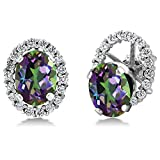 3.72 Ct Oval Green Mystic Topaz 925 Sterling Silver Stud Earrings with Jackets