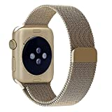 Been5le Milanese Loop Stainless Steel Replacement iWatch Band with Magnetic Closure Clasp for Apple Watch Sport&Edition-38MM Gold