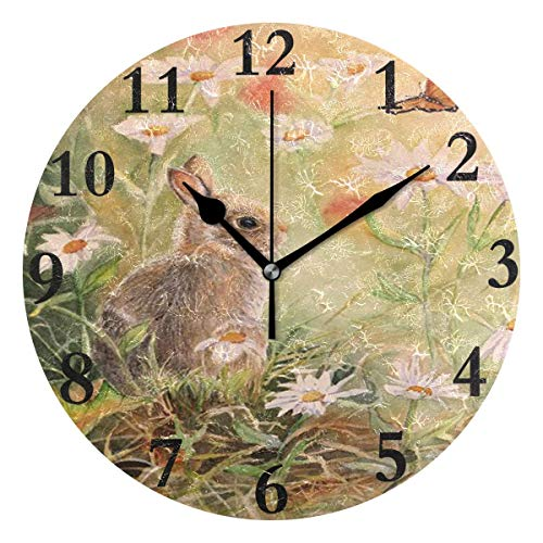 Dozili Bunny Rabbit Round Wall Clock Arabic Numerals Design Non Ticking Wall Clock Large for Bedrooms,Living Room,Bathroom