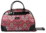 Kathy Van Zeeland Luggage 22 Inch Rolling Carry On Printed Wheeled Duffel (One Size, Red Paisley)