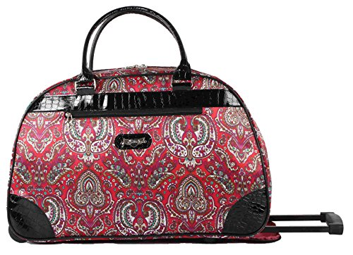 Kathy Van Zeeland Luggage 22 Inch Rolling Carry On Printed Wheeled Duffel (One Size, Red (Vans For Girls On Sale)