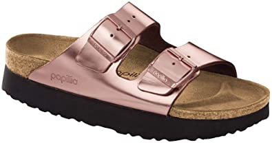 c2ec3414f05f Birkenstock Women s Papillio Arizona Platform Sandal Metallic Copper  Leather Size 36 ...