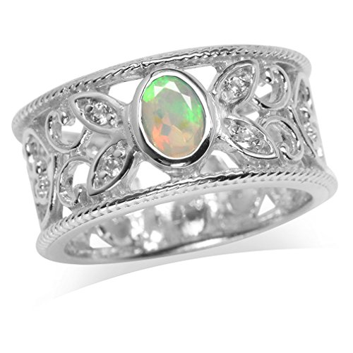 Genuine Opal & White Topaz Gold Plated 925 Sterling Silver Filigree Band Ring Size 6 ()