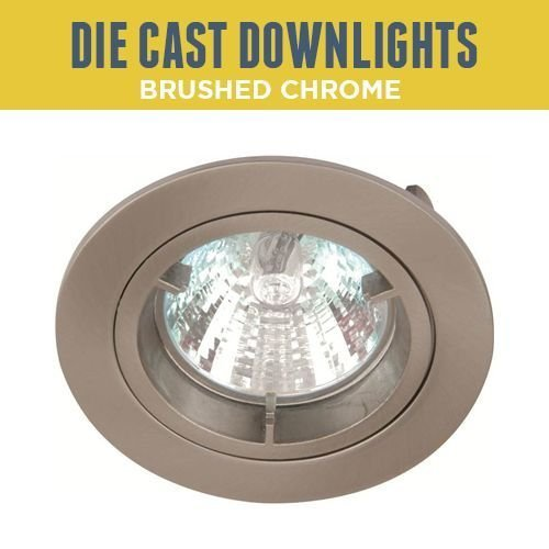 5 X BRUSHED CHROME RECESSED GU10 DOWNLIGHTS TWIST AND LOCK SPOTLIGHTS 240V MAINS LED OR HALOGEN [Energy Class A+] Man Led