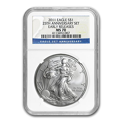 2011 Silver Eagle MS-70 NGC (25th Anniv, Early Releases) 1 OZ MS-70 NGC