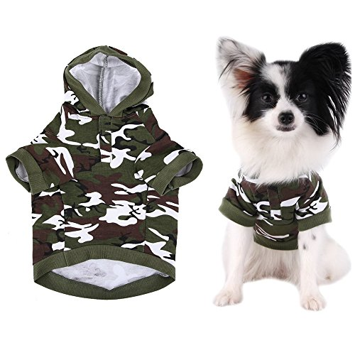 FuzzyGreen Fashion Green Camouflage Pattern Pet Dog Puppy Hoodie Sweater Clothes Costume Apparel Size S]()