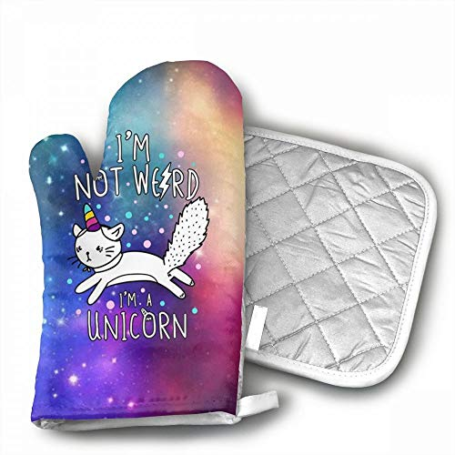 Galaxy Unicorn Oven Mitts,Professional Heat Resistant Microw