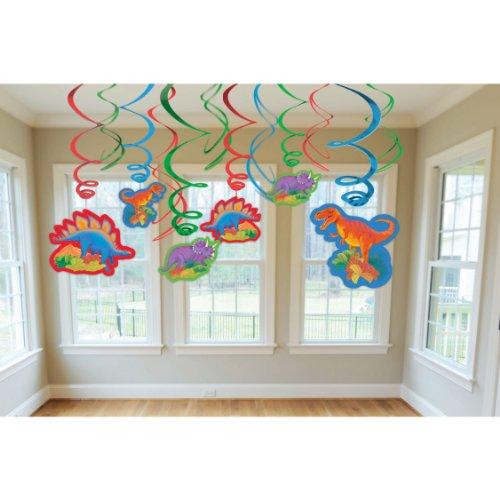 Amscan Dashing Prehistoric/Dinosaur Value Pack of Swirl Birthday Party Decorations, 24