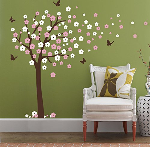 Pink And Brown Wall Decor - Huge Cherry Blossom Tree Blowing in the Wind Wall Decals Nursery Tree Flowers Butterfly Art Baby Kids Room Wall Sticker Wall Décor