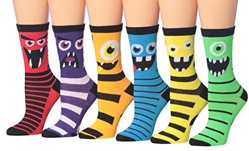 Tipi Toe Women's 6-Pairs Colorful Funky Patterned Crew Dress Socks (WC81-B)