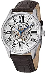 Stuhrling Original Mens Special Reserve Emperor's Stainless Steel Automatic & Hand Winding Skeletonized Dial Genuine Leather Strap Watch in Special Mens Gifts Box
