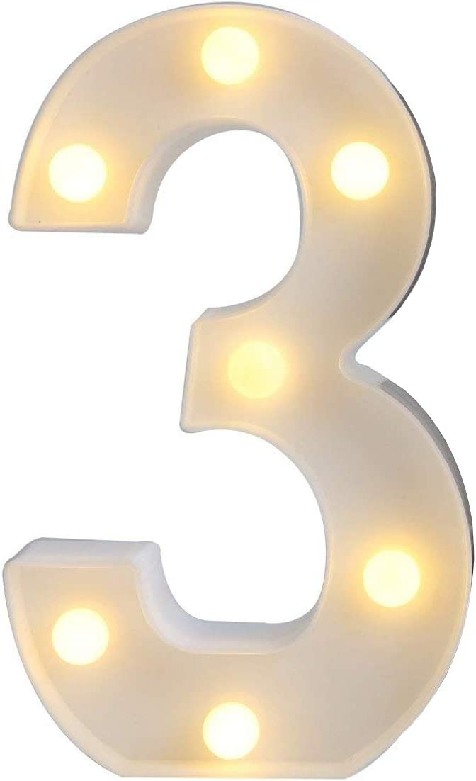 Sunnyglade White Marquee LED Alphabet Lights Arabic Numerals Lights for Party Home Bar Wedding Decor, Alphabet Wall Decoration Letter Lights (3)