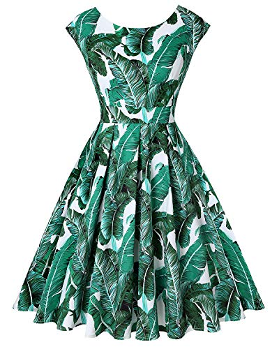 MINTLIMIT Women's 50s 60s Vintage Sleeveless Crew Neck Cocktail Swing Dress(Floral Green,Size XL)