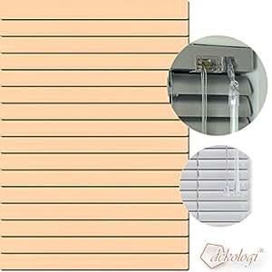 Persiana (aluminio, 55x 130cm (ancho x altura)–Láminas Color 1213Apricot claro//Medida aluminio veneciana–Estor plisado