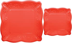 Scalloped Embossed Square Premium Paper Plates: Bundle Includes Dinner Plates and Appetizer/Dessert Plates for 8 Guests (Coral Red)