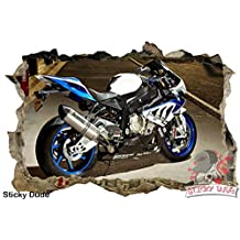 3D Effect BMW S1000RR Motorcycle Decal - High resolution Print Removable/DIY Wall Stickers for Walls,Ceiling, Cabinets, Closets or Home Decor