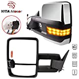 Towing Mirrors for 88-98 GMC C1500 C2500 C3500 K1500 K2500 K3500 Power Chrome Smoke LED Signals Clearance Passenger Driver Side Tow Mirror