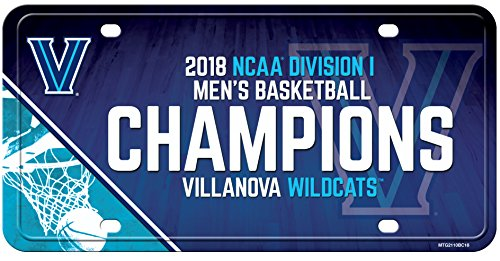 (NCAA Villanova Wildcats 2018 Men's National Basketball Champions Metal License Plate Tag)