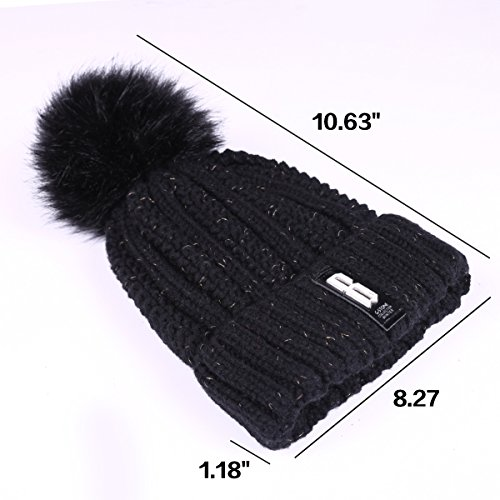 ADUO Pom Beanie Hat, Women's Winter Fleece Lined Cable Knitted Pom Beanie Hat (Black)