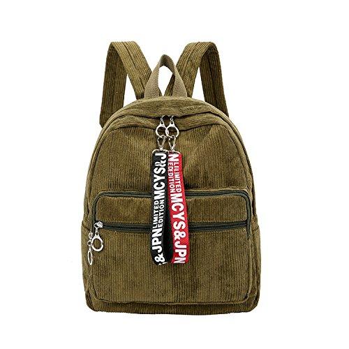 corduroy ribbon shoulder bag College wind corduroy large capacity leisure student bag,green