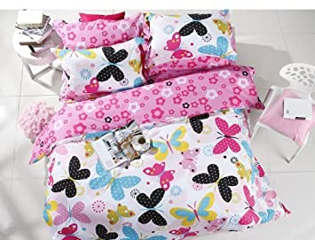 LELVA Utterfly Cartoon Beddingrustic Flower Printed Duvet Coverchild Girls Pink Bed Set