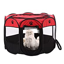 Zaote Portable Pet Dog Cat Playpen Foldable 8-side Puppy Kitten Rabbit Guinea Pig Play Pen Red
