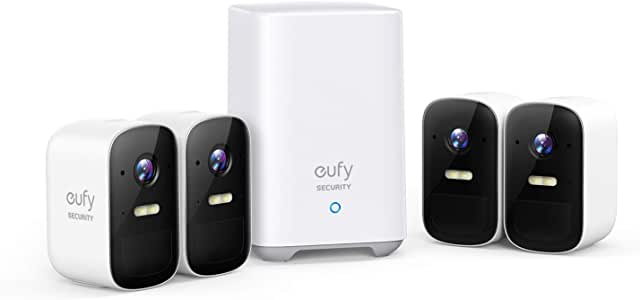 eufy Security, eufyCam 2C 4-Cam Kit, Wireless Home Security System with 180-Day Battery Life, HomeKit Compatibility, 1080p HD, IP67, Night Vision, No Monthly Fee