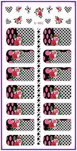 WATER DECAL NAIL STICKER FULL COVER FLOWER HIGH HEEL SHOES BOW TIE CORSET BELT A001-006 A001