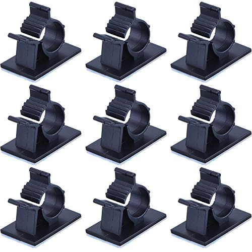eBoot Adjustable Cable Clips Adhesive Nylon Wire Clamps, Black, 50 Pack (Adhesive Backed Cable Clips)