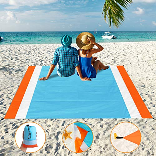 Aitey Sand Free Beach Blanket, Waterproof Beach Mat Compact Outdoor Blanket Ideal for Picnic, Travel, Hiking, Camping and Music Festivals with 4 Stakes, 4 Corner Pockets and Bag - 82x 79
