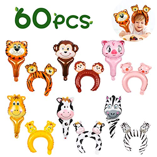 MALLMALL6 60pcs Zoo Animal Inflatable Headbands Balloon Hair Hoop Handhold Balloon Stick Wands Forest Safari Wildlife Farm Animals Jungle Theme Birthday Party Supplies Party Favors Costumes for Kids