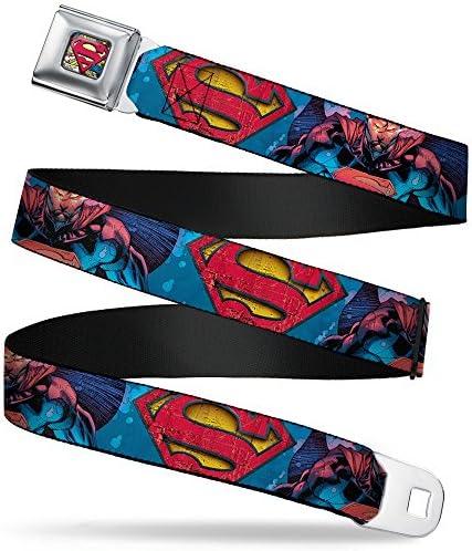 Buckle-Down Seatbelt Belt - Superman Unchained Under Sea PoseShield BluesGrayRedYellow - 1.5 Wide - 24-38 Inches in Length / Buckle-Down Seatbelt Belt - Superman Unchained Under Sea PoseShield BluesGrayRedYellow - 1.5 Wide - 24-38 ...