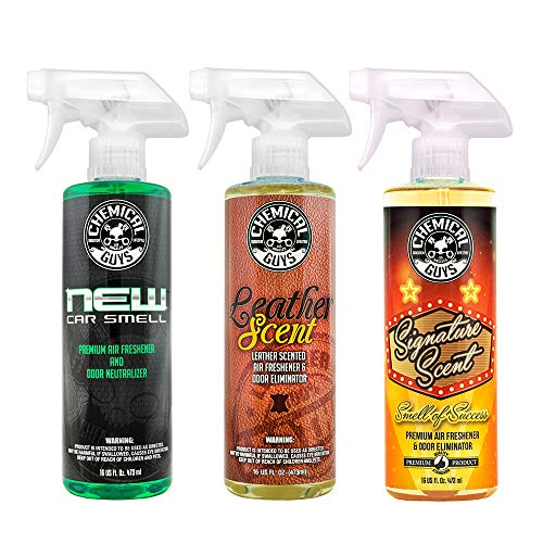 Chemical Guys AIR_301 Best Air Freshener Kit - New Car Scent, Leather Scent & Signature Stripper Scent (3) 16 oz. Bottles ()