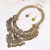 Lanue Fashion Bib Bohemian Statement Coin Necklace and Earrings Punk Ethnic style Jewelry Set for Women (Style 2-gold)