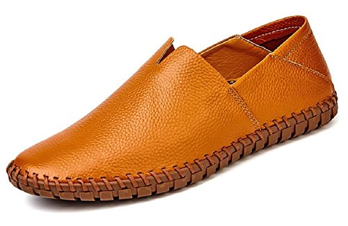 (JiYe Men's Genuine Leather Loafer Shoes Slip On Soft Walking Driving Shoes,Brown,41EU=8.5 M US)