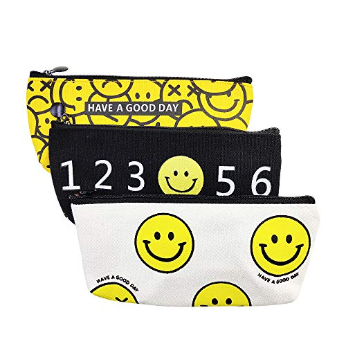 (Pencil Case, Smile Face Pattern Pen Holder with Single Zipper Large Capacity Canvas Pencil Pouch, Stationery Organizer for Executive Fountain Pen Ballpoint Pen 3pcs)