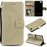 Floral Wallet Case for Huawei P8 Lite,Strap Flip Case for Huawei P8 Lite,Leecase Embossed Totem Flower Design Pu Leather Bookstyle Stand Flip Case for Huawei P8 Lite-Gold