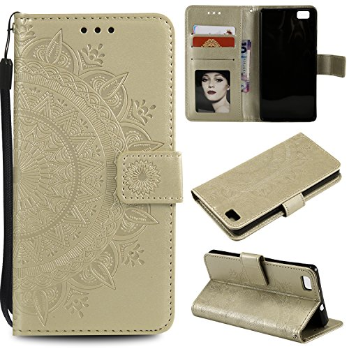 Floral Wallet Case for Huawei P8 Lite,Strap Flip Case for Huawei P8 Lite,Leecase Embossed Totem Flower Design Pu Leather Bookstyle Stand Flip Case for Huawei P8 Lite-Gold by Leecase