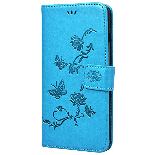 SMART LEGEND Lederhülle für iPhone 8 Plus Ledertasche Hülle Blau Drucken Weinstock Muster Schutzhülle Premium PU Leder mit Handschlaufe Flip Case Protective Cover Innere Weiche Silikon Bookcase Handy