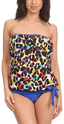 - ToBeInStyle Women's Multi Leopard Bandeau Blouson Tie Tankini - 14