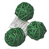 Ougual Set of 6 Wicker Rattan Balls Table Wedding Party Christmas Decorative (Diameter 8cm, Grass Green)