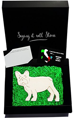 Original Gift Idea for Dog Lovers - Grumpy Dog - Handmade in Italy - Elegant gift box with blank message card - Rare Italian stone contains fossil fragments - Pug French Bulldog pet birthday for (West Highland Terrier Poodle)