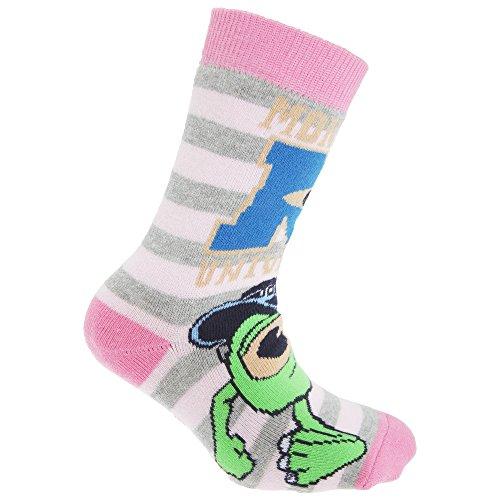Disney Monsters University Official Childrens/Kids Slipper Socks (1 Pair) (10-13 Child US) (Pink/Grey/Green)